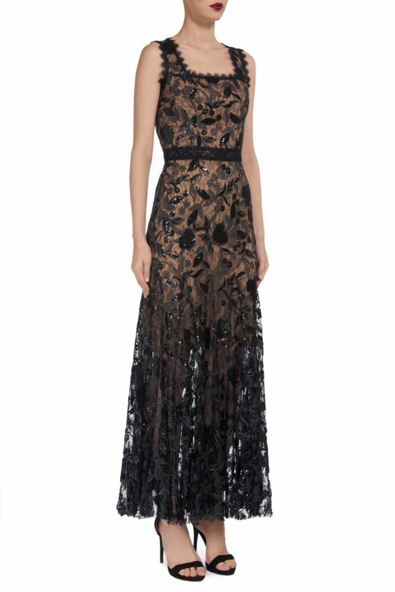 Lindra PS1950 Black Floral Sequin Dress with Square Neckline and Nude Lining