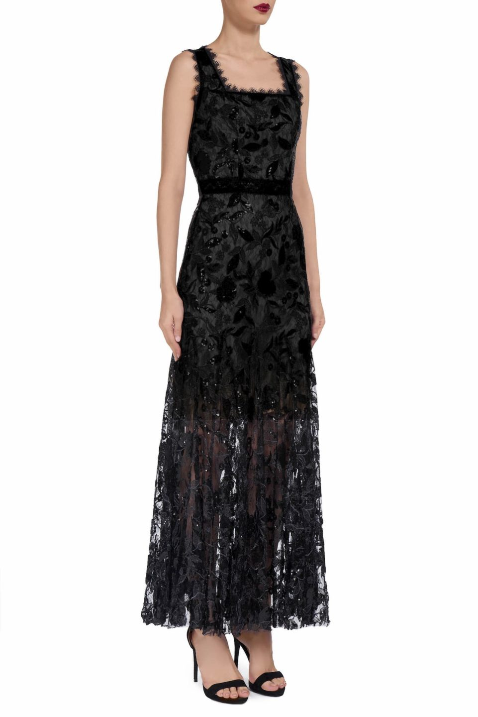 Lindra PS1950 black floral sequin dress with square neckline