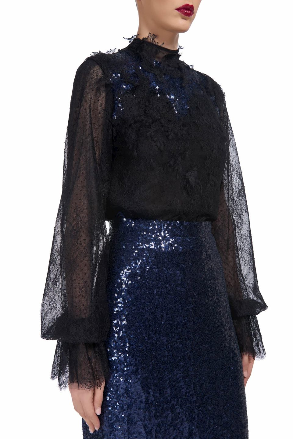 Deena PR1916 black chantilly lace and dotted tulle blouse with sequins and corded lace appliques