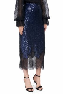 Danice PR1917 blue sequin straight skirt with black chantilly lace hem