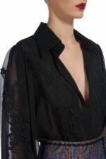 Lalie Silk Chiffon Button-Down Blouse