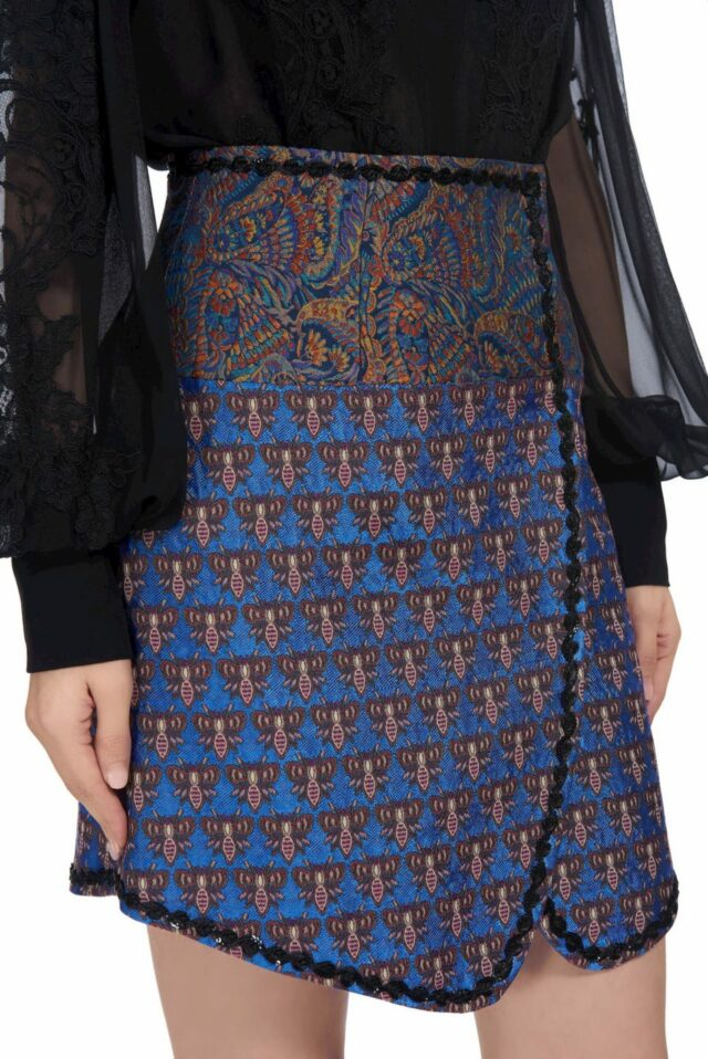 Lila PR1923 Blue brocade wrap mini skirt