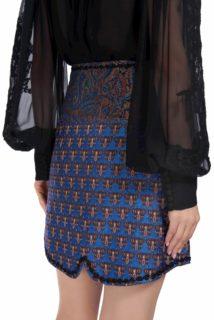 Lila PR1923 Blue brocade wrap mini skirt
