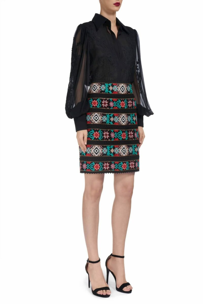 Laurice PR1943 Black Aztec-inspired embroidered mini skirt with zipper details