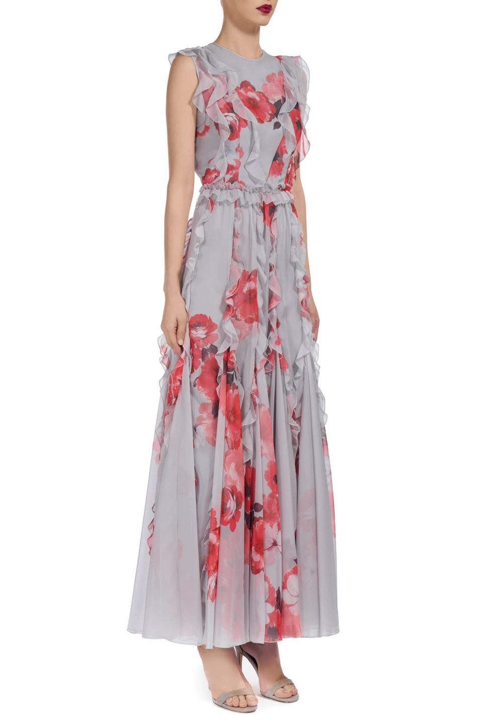 Brielle PS1913 Grey chiffon dress with coral red flower and ruffle detail
