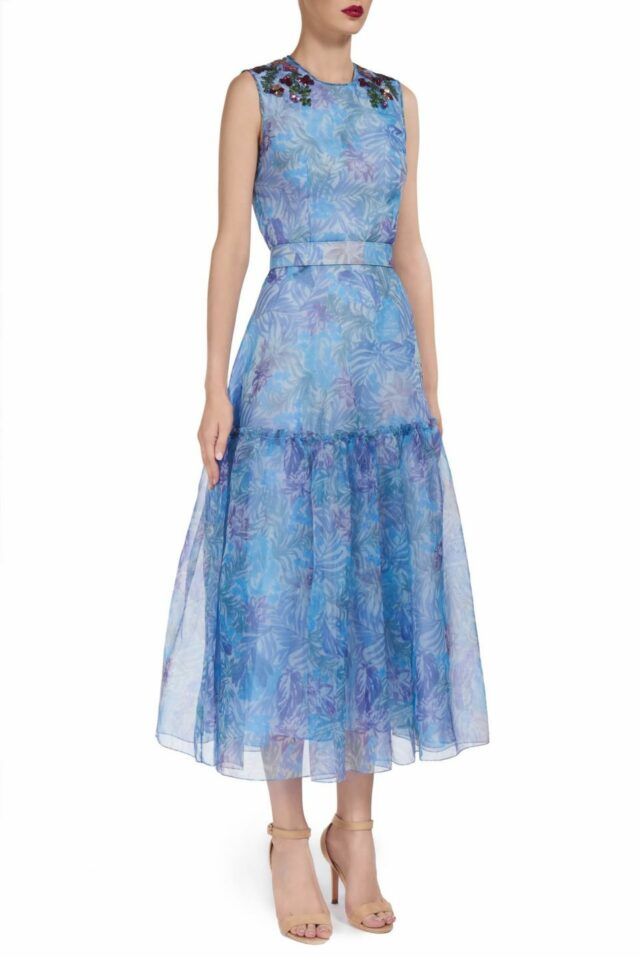 Tristine PS2074 Blue silk organza printed fit & flare belted dress