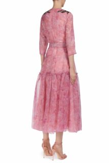 Tinda PS2074 Pink printed silk organza belted dress with sequin embellished shoulder