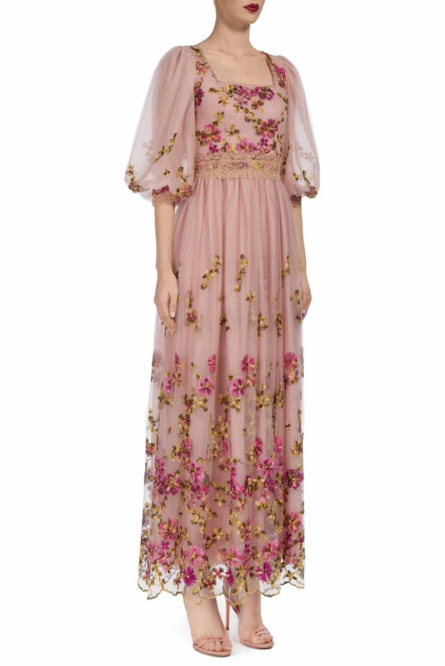Rosabelle PS1941 Pink floral embroidered tulle dress with square neckline and blouson sleeves