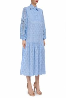 Twyla SS1943 Blue cotton broderie anglaise shirtdress