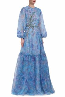 Tamistine PS2071 blue printed silk organza gown with embroidery and long sleeves