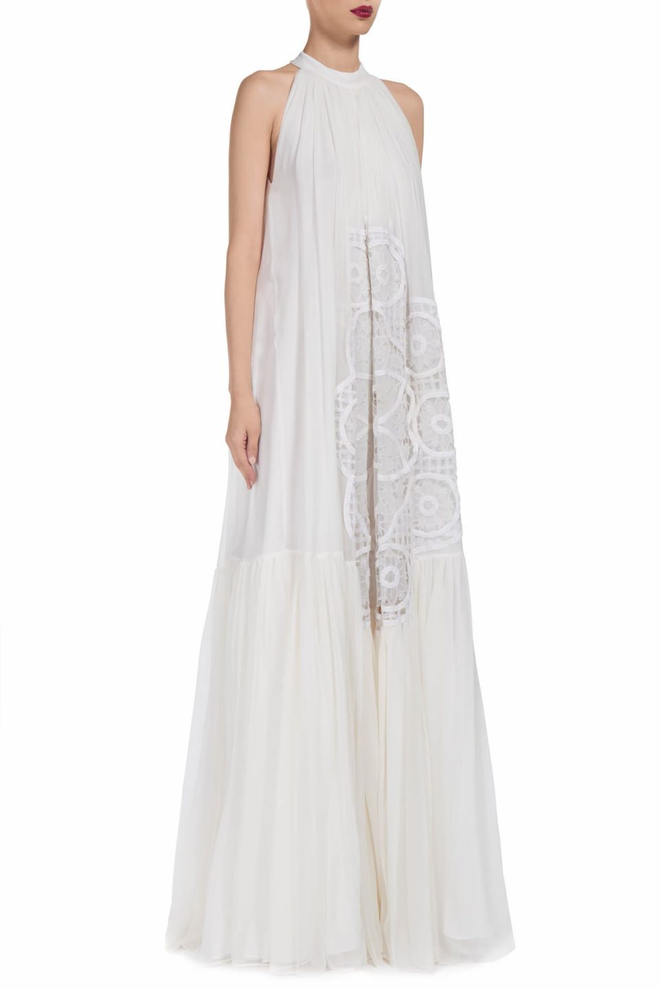 Jasline SS1986 white silk chiffon pussybow gown with floral-cut lace