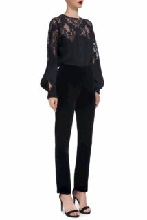 Trixie CR1902 Black silk chiffon blouse with french lace and slit sleeves