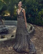 PS2124 Farah brown beige leopard-print triangle top mermaid gown