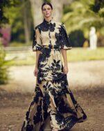 Carmela PS2147 Top & PS2146 Skirt Gold printed satin with black flowersCarmela PS2147 Top & PS2146 Skirt Gold printed satin with black flowers