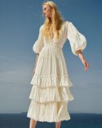 Celestina SS2145 White iridescent lurex georgette tiered dress