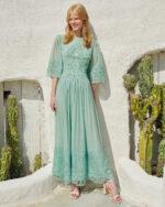Kenley SS2113 Green Silk Chiffon A-line dress