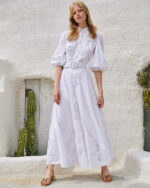 Pavlina SS2121 White Cotton-Linen Blend Shirtdress with Reticella lace