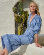 Arella SS2123 Blue Cotton Linen Blouson Dress with Reticella Lace