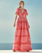 Loanna SS2124 Coral Cotton Linen Gown with Reticella Lace