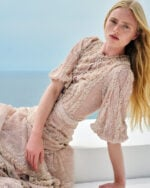 Jeanisse SS2130 Pink Nude Glitter Dot Chantilly Lace Tiered Dress with Ruffle & Ruching detail