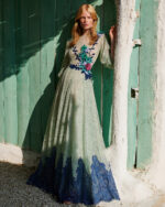 Odella SS2133 green glitter dot chantilly lace gown with flower appliques