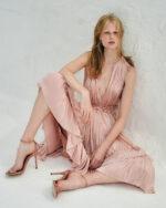 Roslyn SS2143 Pink Iridescent Lurex Georgette Dress with Flounce Hem