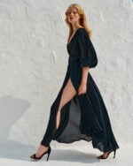 Brennie SS2144 Black A-line Dress with Slit Sleeves and Plunging Neckline