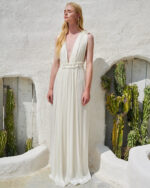 Catalina SS2146 White Iridescent Lurex Georgette Gown with ruffle detail, grecian gown