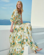Kirsty SS2152 White floral-printed one-shoulder gown