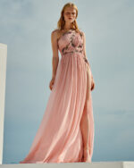 Zasthia SS2160 Pink Grecial draped one-shoulder silk chiffon gown with crystal embellishments
