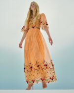 Lizette SS2182 Orange Chantilly lace dress with sequin floral embellishments