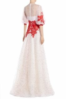 Trilly SS2097 white dot embroidered french tulle with red flower appliques