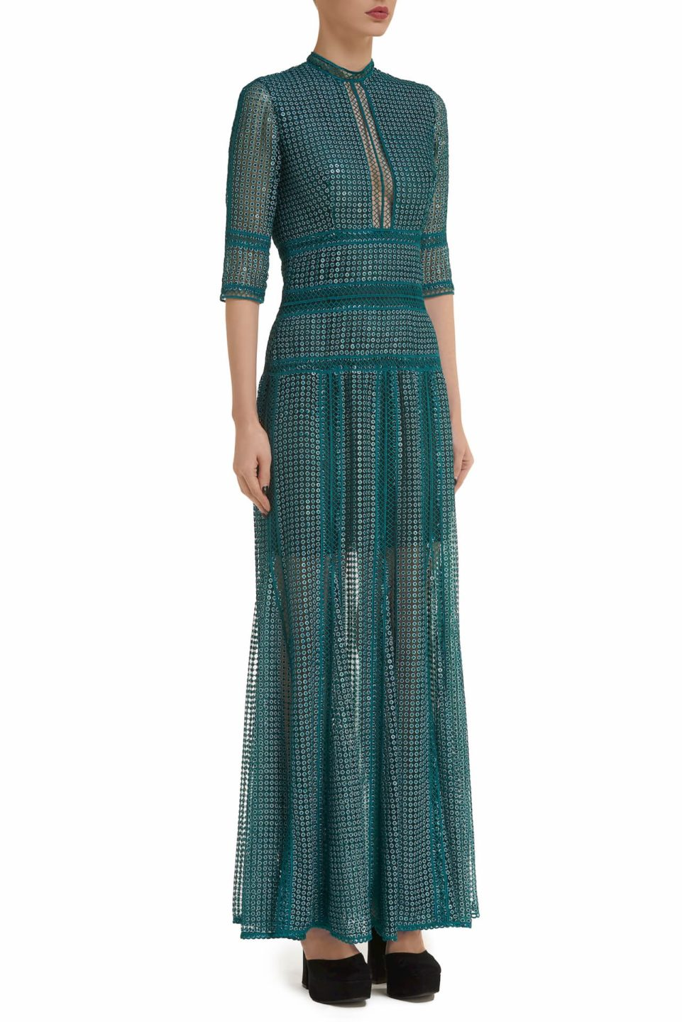 Trina PR2098 teal Embroidered Sequin Godet Dress with Three-Quarter Sleeves & Ladder Lace Trim