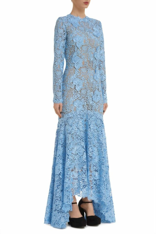 Charla PR2046 blue Guipure Lace Long-Sleeve Fishtail Gown with 3D Lace Appliques