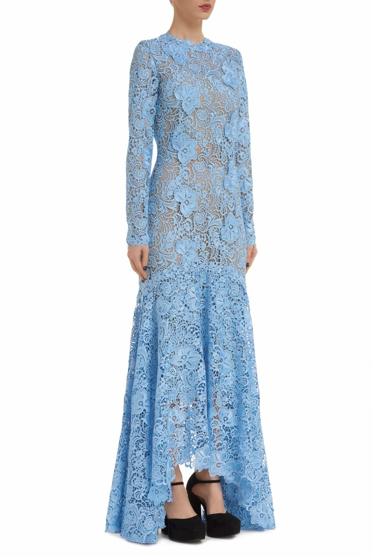 Charla PR2046 blue Guipure Lace Long-Sleeve Fishtail Gown with 3D Lace Appliques