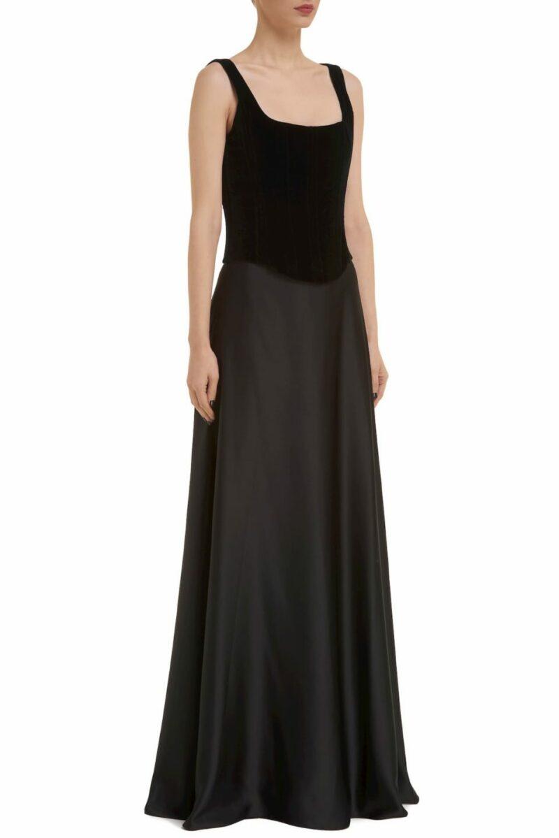 Sylvia CR1906 Crepe satin black evening skirt