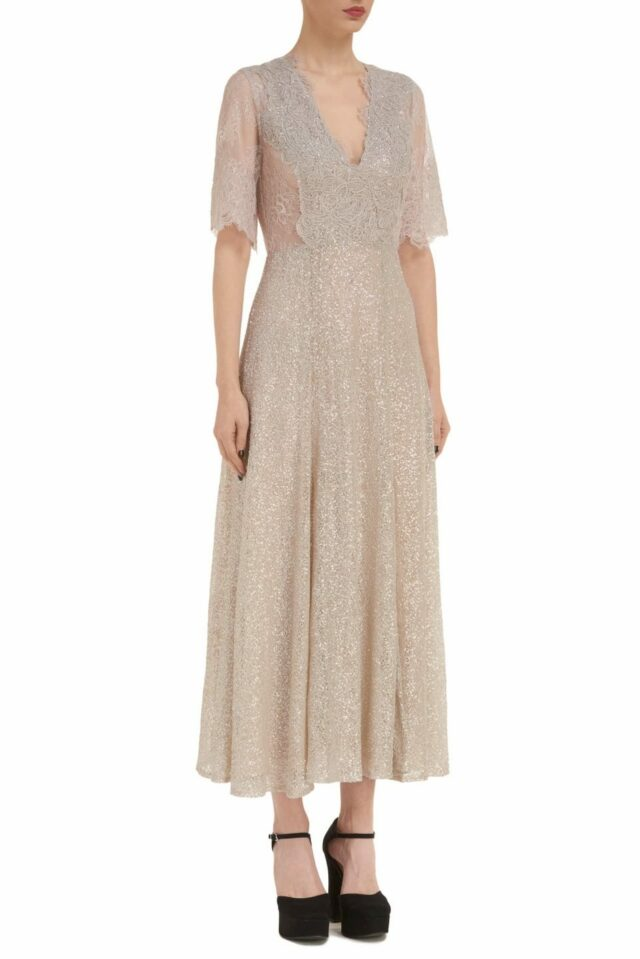 Leigh PR2095 beige gold Sequin/Chantilly Lace Empire Dress with Gossamer Lace Detail