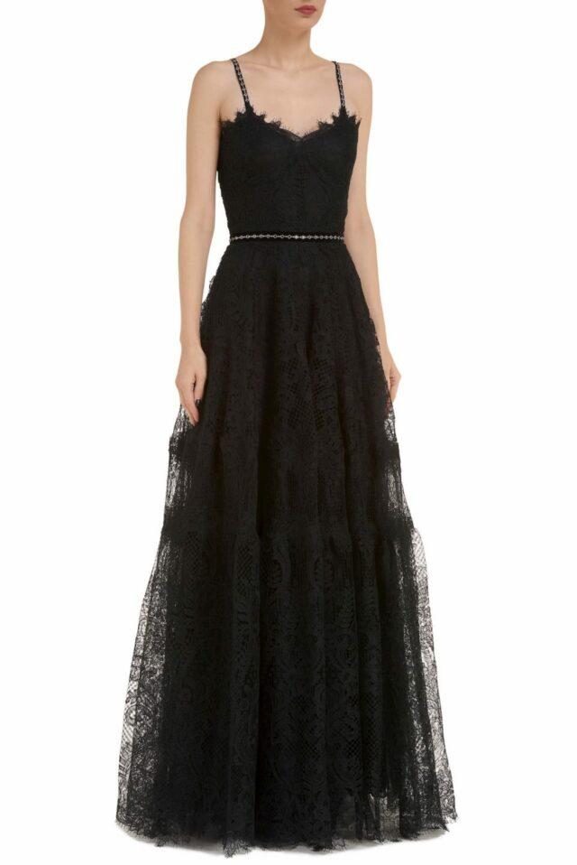 Moira CR1907 black gossamer lace gown with Swarovski details