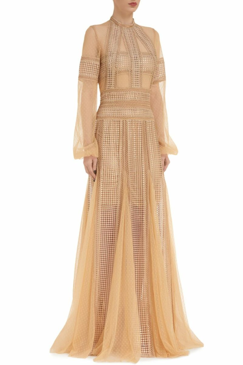 Evita PR2099 beige gold Embroidered Sequin & Dotted Tulle Paneled Godet Dress with High-Neckline & Ladder Lace Trim