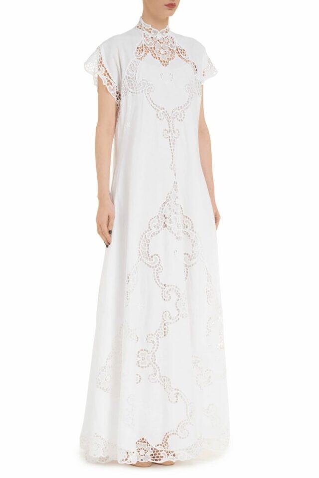 Alinna PR2014 white Linen Caftan Dress with Illusion Neckline & Greek Traditional Reticella Lace Detail