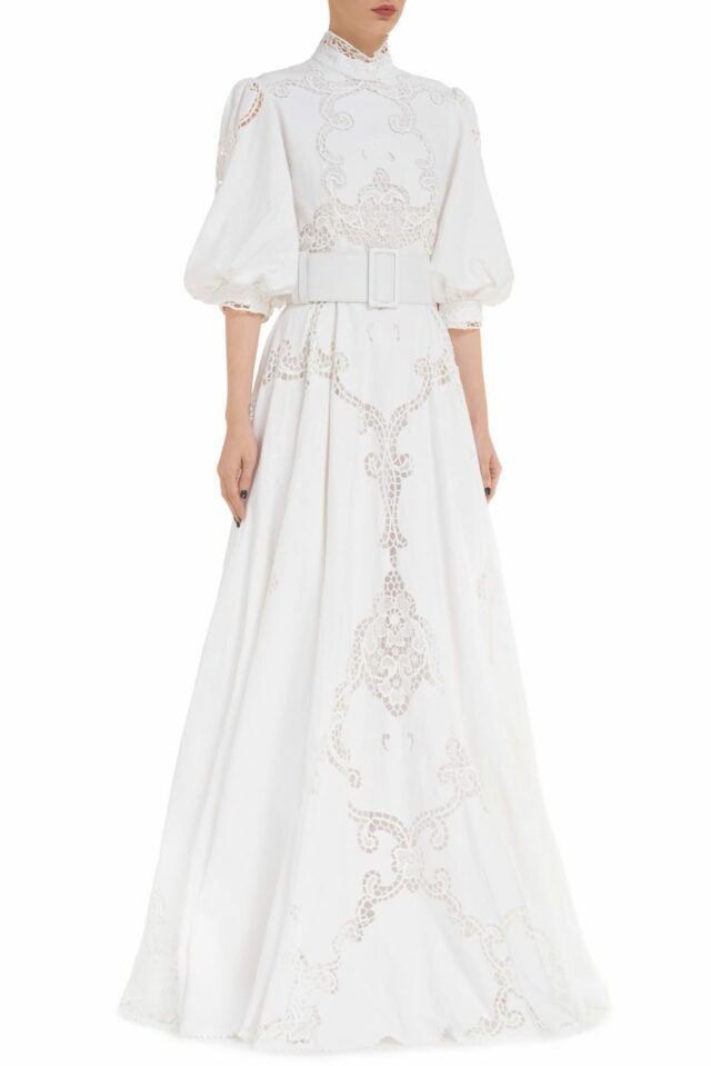 Alessie PR2013 white Linen Mock-Neck Gown with Puff Sleeves & Greek Traditional Reticella Lace Detail