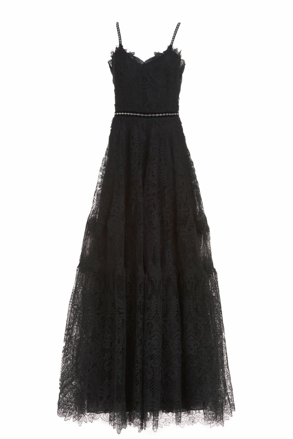 Moira CR1907 black gossamer lace gown with Swarovski details