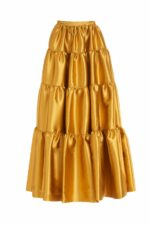 Sybil PR2080 gold lurex brocade tiered skirt