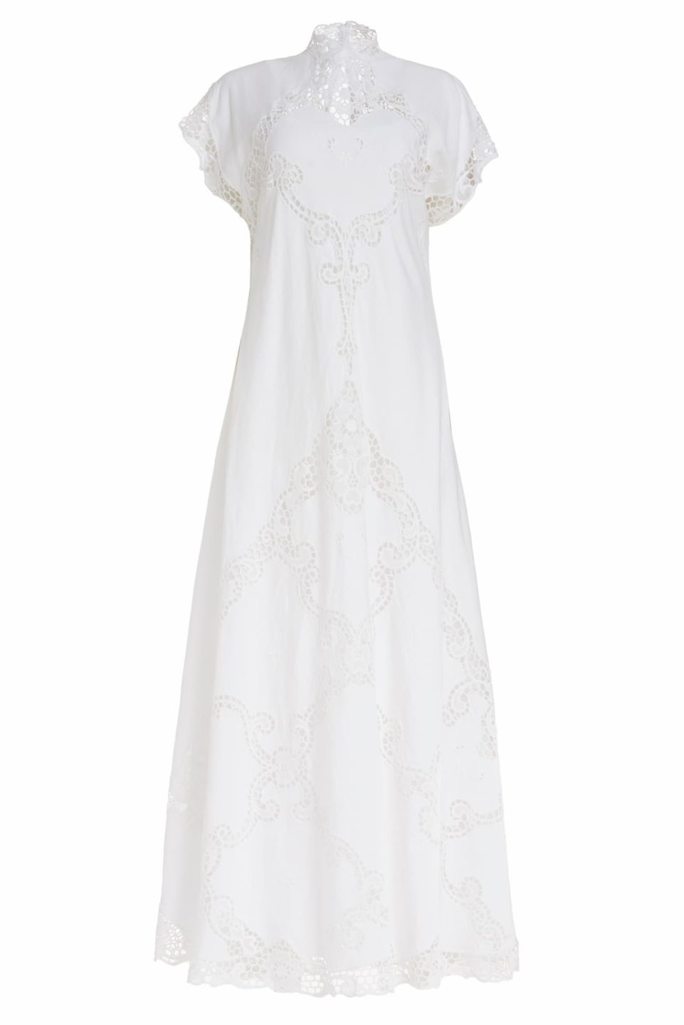 Alinna PR2014 white Linen Caftan Dress with Illusion Neckline & Greek Traditional Reticella Lace Detail