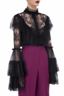 Whitney FW2046 black embroidered french tulle bib blouse with fluted sleeves