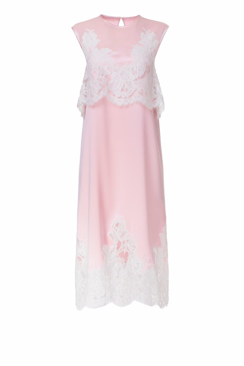 Beverly PS2113 Pink Satin Midi Dress with Popover Bodice & Cordone French Lace Hollow-Out Appliques
