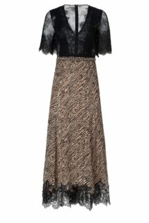 Donella PS2123 Black and Beige Tiger-Print Chiffon Empire-Waist Dress with Gossamer & Chantilly Lace & Gold Threading