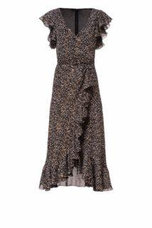 Jolecia PS2121 Black & Beige Leopard-Print Chiffon Flounce Wrap Dress with Gold Threading