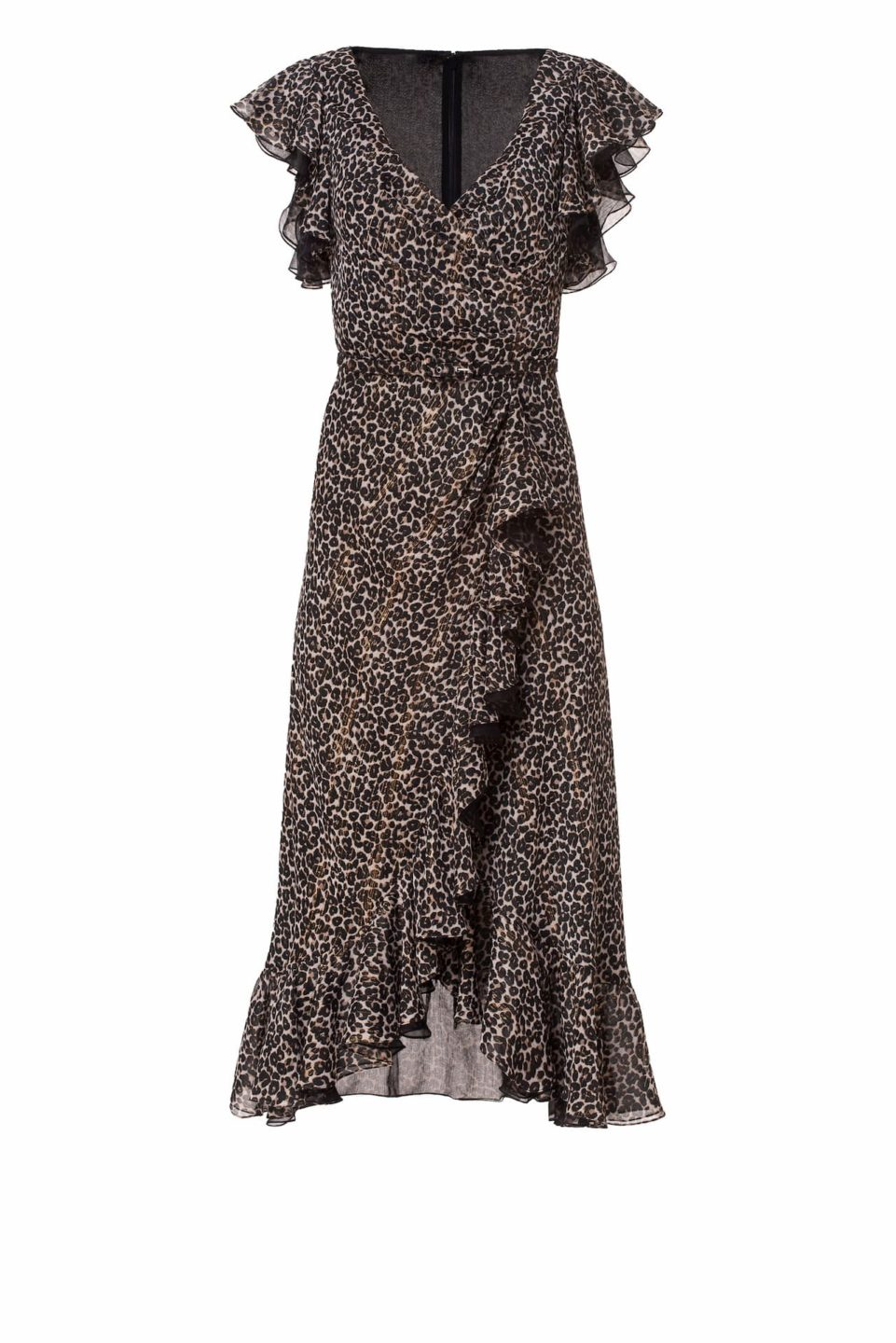 Jolecia PS2121 Black & Beige Leopard-Print Chiffon Flounce Wrap Dress with Gold Threading