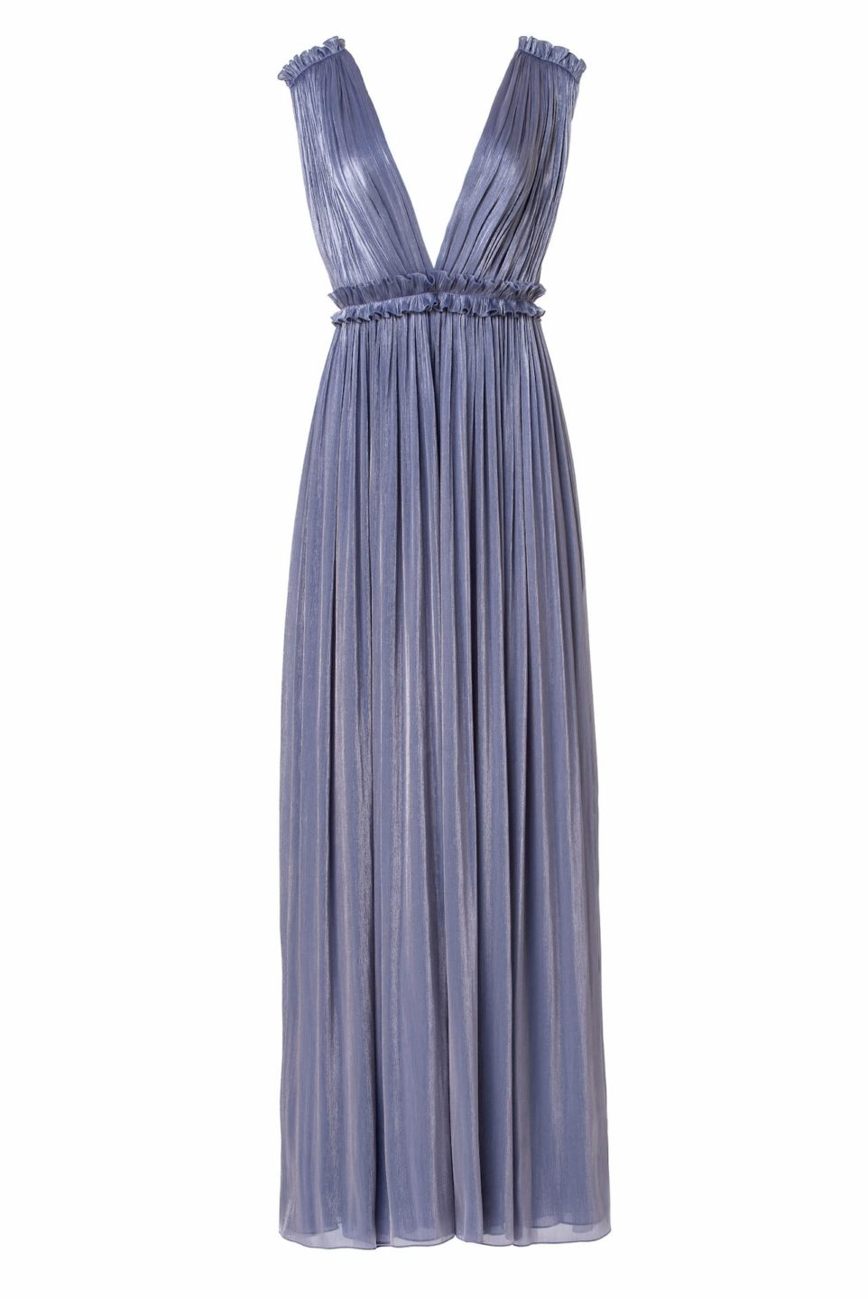 Lorelle PS2155 Blue Iridescent Lurex Georgette Grecian-Draped Gown with Plunging Neckline & Double-Edged Ruffles